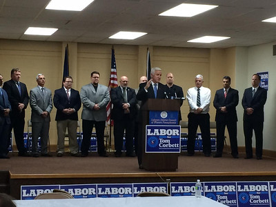 CAWP on hand for Laborers Endorsement of Governor Corbett