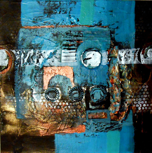 Land of Turquoise , mixed media, 12x12 by Joan Dorrill