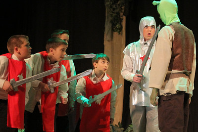 IMG_4834 JPG jackson balch, latham allison, andrew fortier, eli stack and matthew alibozek as kings guards telling shrek the king wants to see him