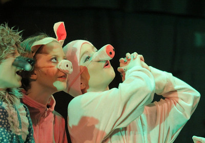 IMG_4829 JPG eli stack as the wolf, sydney ladeau and sophia postans as pigs, plead with shrek for help