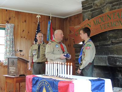 From left, Matt Maxham, Mark Kopf and Graham Melville at Melville's Eagle Scout ceremony