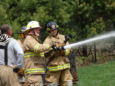 Testing the hose Deputy Chief, Curt Allen and Adam Ameele