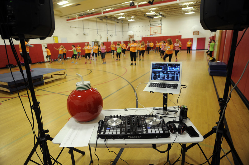 David Lee/Columbia-Greene Media<br /> DJ H-BomB Henry Race donated his time to keep the Sean's Run Zumbathon dancers busy.