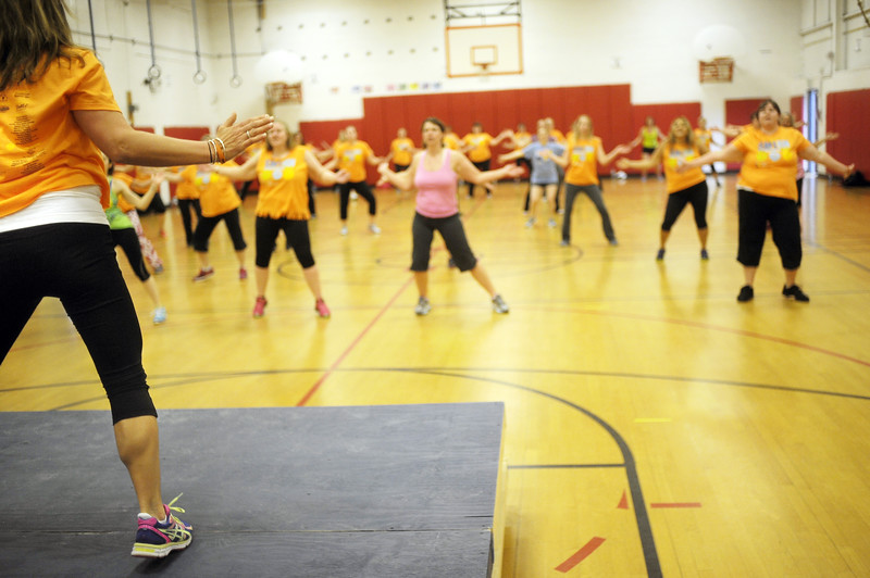 David Lee/Columbia-Greene Media<br /> Zumba instructor Theresa Rossi donated her time to lead the legions of dancers.
