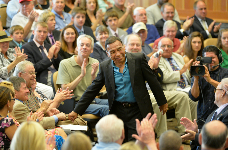 Hall of Fame jockey Angel Cordero Jr. is introduced to the crowd at the Thoroughbred Race Hall of Fame ceremony held at the Fasig-Tipton Sales Pavilion Aug. 8, 2014 in Saratoga Springs, N.Y.   Photo by Skip Dickstein
