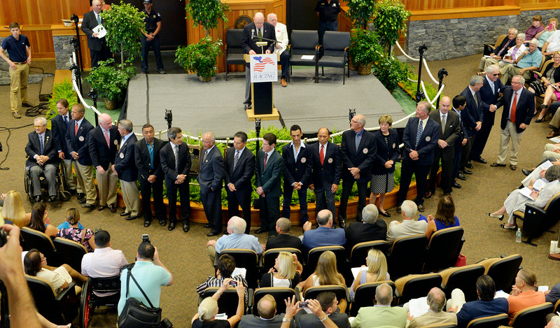 Attending members of the Thoroughbred Racing Hall of Fame are introduced to the crowd at a ceremony held at the Fasig-Tipton Sales Pavilion Aug. 8, 2014 in Saratoga Springs, N.Y.   Photo by Skip Dickstein