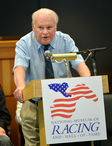 Retired trainer Gary Jones gives his acceptance speech at the Thoroughbred Racing Hall of Fame induction ceremony Aug. 8, 2014 in Saratoga Springs, N.Y.   Photo by Skip Dickstein