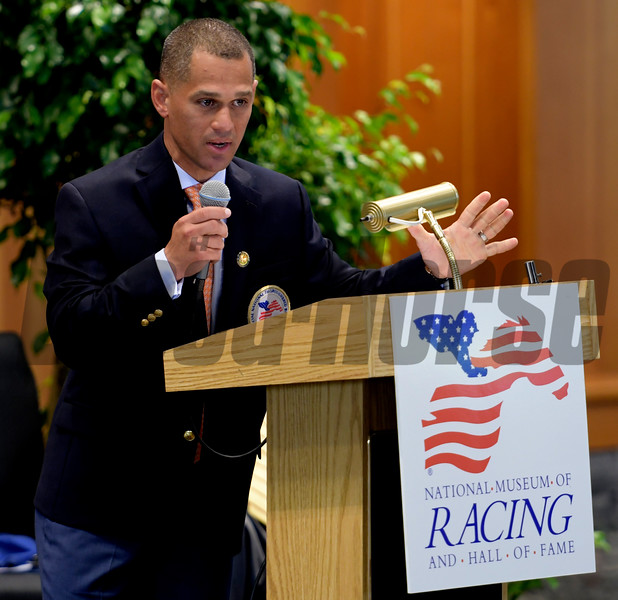 Class of 2017 HOF member jockey Javier Castellano gives his acceptance speech at the National Museum of Racing and Hall of Fame induction ceremony held Aug. 4, 2017 at the Fasig Tipton auditorium in Saratoga Springs, N.Y. <br /> Photo by Skip Dickstein