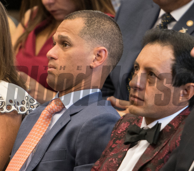 Contemporary jockeys Javier Castellano, left and Victor Espinoza with their turn to be honored at the National Museum of Racing and Hall of Fame induction ceremony held Aug. 4, 2017 at the Fasig Tipton auditorium in Saratoga Springs, N.Y. <br /> Photo by Skip Dickstein