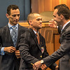 Class of 2017 HOF jockey Javier Castellano, center is congratulated by fellow Hall members John Velazquez, left and Ramon Dominguez at the National Museum of Racing and Hall of Fame induction ceremony held Aug. 4, 2017 at the Fasig Tipton auditorium in Saratoga Springs, N.Y. <br /> Photo by Skip Dickstein