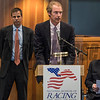 Sam Voss, son of Thom Voss gives the acceptance speech for his father at the National Museum of Racing and Hall of Fame induction ceremony held Aug. 4, 2017 at the Fasig Tipton auditorium in Saratoga Springs, N.Y. <br /> Photo by Skip Dickstein