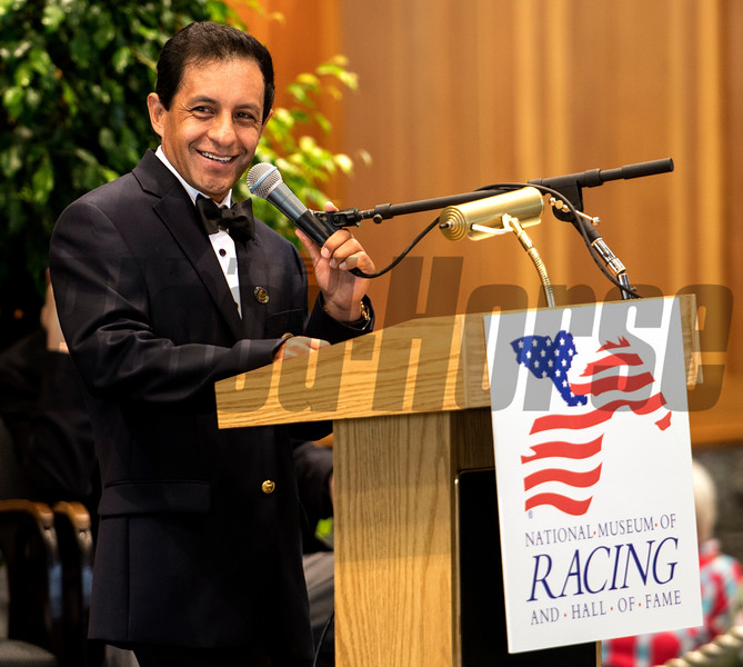 Jockey Victor Espinoza gives the acceptance speech at the National Museum of Racing and Hall of Fame induction ceremony held Aug. 4, 2017 at the Fasig Tipton auditorium in Saratoga Springs, N.Y. <br /> Photo by Skip Dickstein