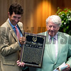 Harold A. Sonny Via Jr. owner of Good Night Shirt, right holds the Hall of Fame Plaque with his trainer at the National Museum of Racing and Hall of Fame induction ceremony held Aug. 4, 2017 at the Fasig Tipton auditorium in Saratoga Springs, N.Y. <br /> Photo by Skip Dickstein