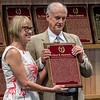 Arthur Hancock III, grandson accepts the Hall of Fame   Pillar of the Turf plaque for his grandfather Arthur B. Hancock Sr. from director Cathy Marino at the induction ceremony held at the Finney Pavilion of the Fasig-Tipton Sales Company Friday Aug. 3, 2018 in Saratoga Springs, N.Y.  Photo by Skip Dickstein