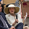 John Hendrickson, joins Mary Lou Whitney as she accepts the Pillar of the Turf award for her late husband C.V. Whitney at the induction ceremony held at the Finney Pavilion of the Fasig-Tipton Sales Company Friday Aug. 3, 2018 in Saratoga Springs, N.Y.  Photo by Skip Dickstein