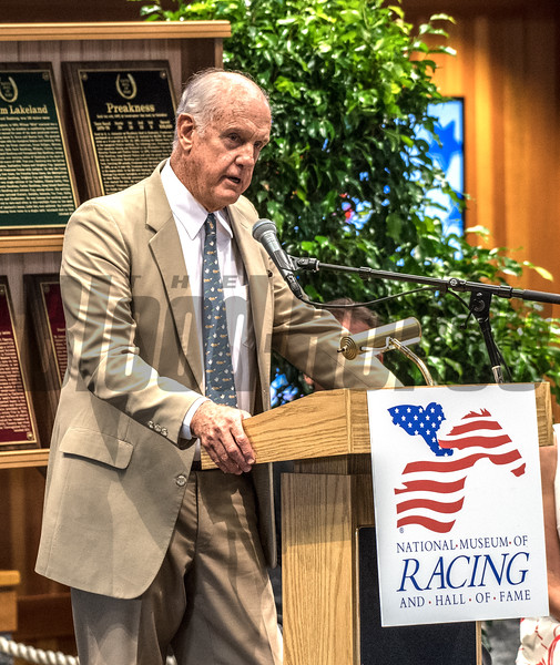 Arthur Hancock III, grandson accepts the Hall of Fame   Pillar of the Turf plaque for his grandfather Arthur B. Hancock Sr. at the induction ceremony held at the Finney Pavilion of the Fasig-Tipton Sales Company Friday Aug. 3, 2018 in Saratoga Springs, N.Y.  Photo by Skip Dickstein