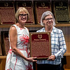 Kate Tweedy, daughter, accepts the Hall of Fame Pillar of the Turf plaque for her mother Penny Tweedy at the induction ceremony held at the Finney Pavilion of the Fasig-Tipton Sales Company Friday Aug. 3, 2018 in Saratoga Springs, N.Y.  Photo by Skip Dickstein