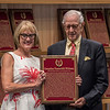 Everett Miller, nephew of C.V. Whitney accepts the Pillar of the Turf award for C.V. Whitney at the induction ceremony held at the Finney Pavilion of the Fasig-Tipton Sales Company Friday Aug. 3, 2018 in Saratoga Springs, N.Y.  Photo by Skip Dickstein