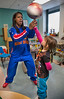 "Harlem Globetrotter ""TNT"" showed of her basketball tricks as she visited children in the pediatrics department at Holy Name Medical Center. Photo by Jeff Rhode"