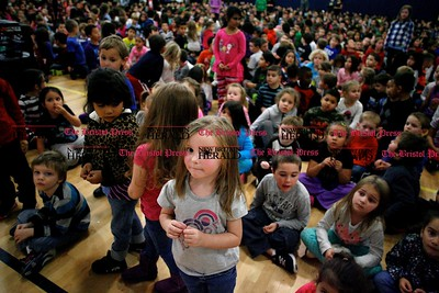 Kevin Bartram | Staff About 900 students fill the gymnasium during the second annual Acts of Kindness Month assembly at Greene-Hills School in Bristol on Monday. Sharon Campolo, a teacher at the school, started the event in honor of Sandy Hook Elementary School.