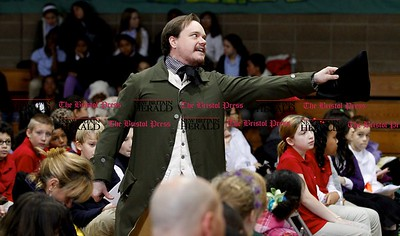 Kevin Bartram | Staff Luke Boyd portrays Gad Stanley during a Colonial Town Hall event at the House of Arts Letters and Science Academy in New Britain on Tuesday.