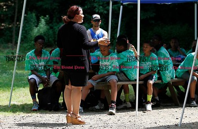 Kevin Bartram | Staff Mayor Erin Stewart speaks to students at the Leaders in Training summer camp at A.W. Stanley Park in New Britain on Tuesday.