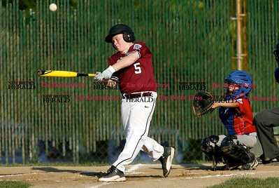 Kevin Bartram | Staff South's Shane LaPorte hits during a game between McCabe-Waters from Bristol and Southington South on Tuesday in Southington.