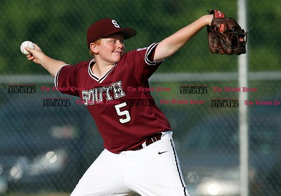 Kevin Bartram | Staff South's starting pitcher Shane LaPorte throws during a game between McCabe-Waters from Bristol and Southington South on Tuesday in Southington.