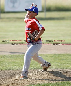Kevin Bartram | Staff McCabe-Waters starting pitcher Shane Dullette throws during a game between McCabe-Waters from Bristol and Southington South on Tuesday in Southington.
