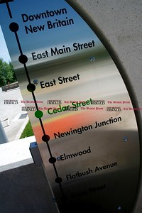 Kevin Bartram | Staff The CTFastrak Cedar Street station is near completion as officials toured the busway on  Monday to check construction progress.