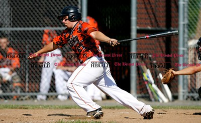 Kevin Bartram | Staff Goodwin's Dade Grajewski hits during a First round of Class M State Tournament game between Goodwin Tech and Vinal Tech on Monday at Goodwin Tech in New Britain.