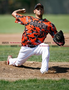 Kevin Bartram   Staff Goodwin's Agustin Cruz pitches during a First round of Class M State Tournament game between Goodwin Tech and Vinal Tech on Monday at Goodwin Tech in New Britain.
