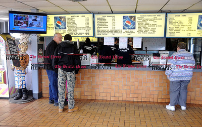 3/1/2014 Mike Orazzi | Staff Frankies on Route 6 in Bristol Saturday. The local hot dog restaurant is celebrating 30 years under the same ownership.