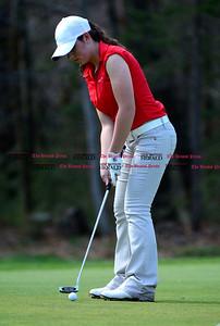 5/1/2014 Mike Orazzi | StaffBerlin High School's Ashley D'Attilio during Thursday's match with Conard High School at the Timberlin Golf Club.
