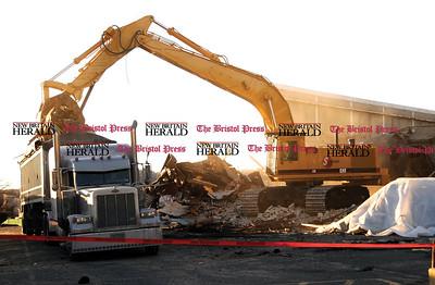 2 22 2008 Mike Orazzi-The Bristol Press Demolition of the Centre Mall on Thursday.