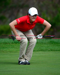 5/1/2014 Mike Orazzi | StaffBerlin High School's Megan Pskowksi during Thursday's match with Conard High School at the Timberlin Golf Club.