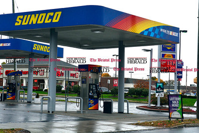 11/1/2014 Mike Orazzi | Staff Gas prices at $3.31 at the Sunoco station at the corner of Corbin Avenue and West Main Street in New Britain on Saturday.