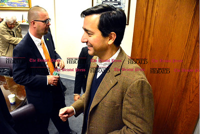 11/1/2014 Mike Orazzi | Staff Luis Fortuno, former governor of Puerto Rico during his visit to New Britain city hall on Saturday morning.