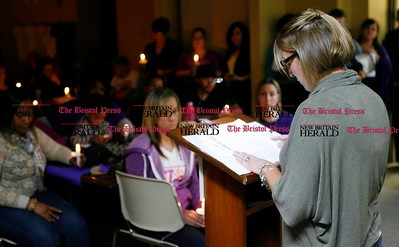 Kevin Bartram | Staff Kelly Anelli talks about her friend, Kyla Ryng of Bristol during a candlelight vigil at the Prudence Crandall Center in New Britain on Wednesday. Ryng was killed earlier this year.