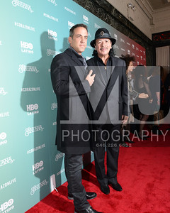 NEW YORK, NY April 16: Ciarlos Ponce and Carlos Santana  attends HBO Latino preview of the new special SANTANA DE CORAZØN at the Hudson Theater VIP Screening in NYC.