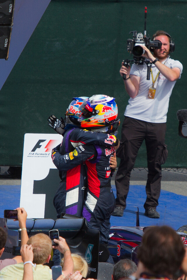 Ricciardo Celebrates 1st Career Win with Vettel