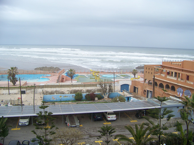 0003 - View of Beach and Atlantic Ocean from Room at Le Grand Bleu Val D Anfa Hotel - Casablanca Morocco.JPG
