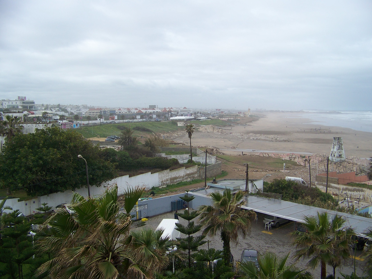 0001 - View of Beach and Atlantic Ocean from Room at Le Grand Bleu Val D Anfa Hotel - Casablanca Morocco.JPG