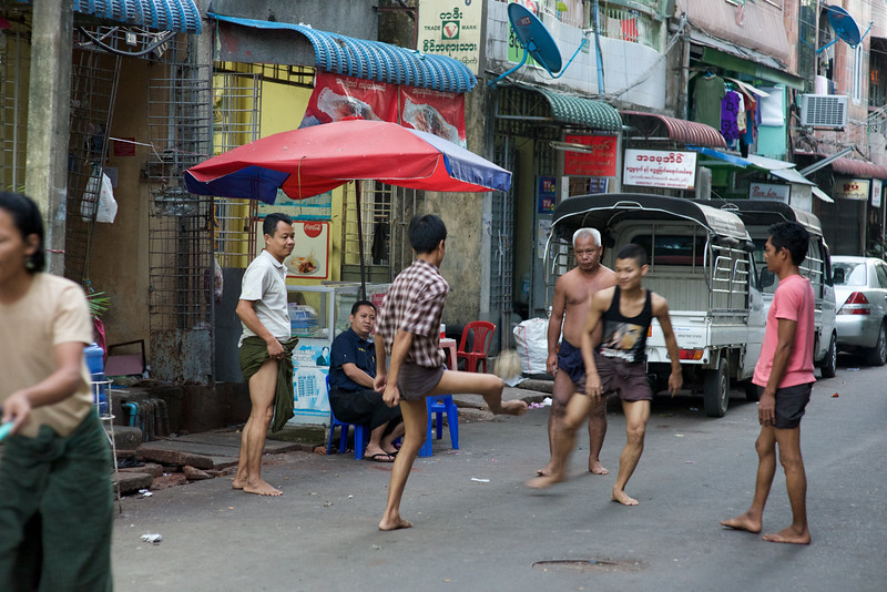 Chinlone on the streets of Yangon, Myanmar
