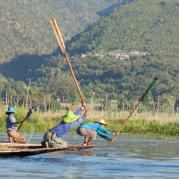 Scaring fish on Inle Lake