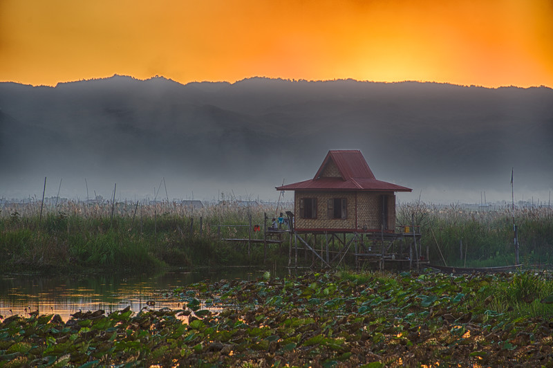 Sunset on Inle Lake