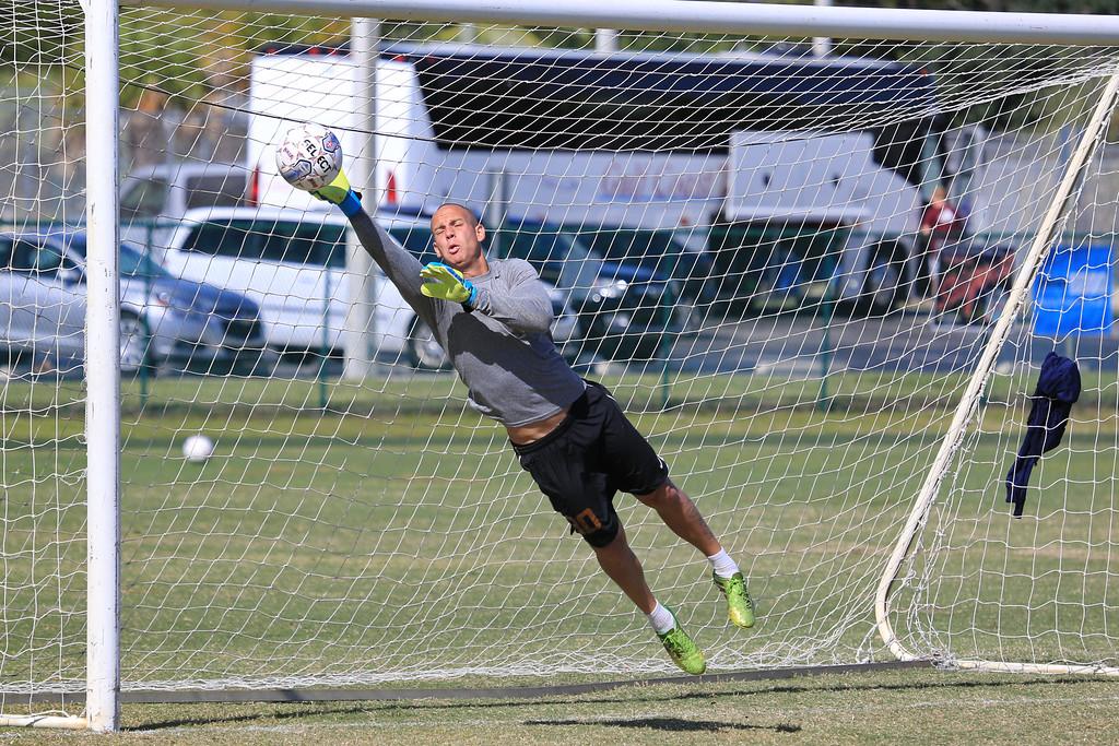 UTB Goalkeeper  Guilherme Altoe makes a save during practice