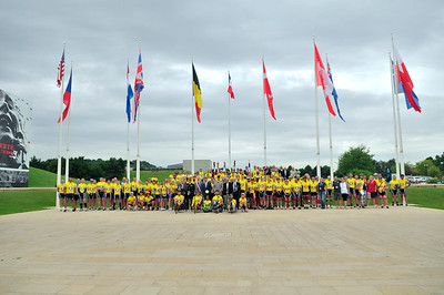 During the 70th Anniversary of the liberation of Normandy, participants attend a ceremony at the Caen Memorial during the 2014 Normandy Challenge.  As a 501(c)(3) organization, R2R helps injured active duty service members and veterans improve their health and wellness through individual and group cycling.