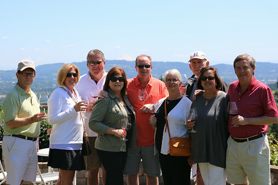Our first group shot - at Lange Winery. Look carefully at center of photo and you can see Mt. Hood in the background.