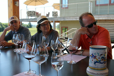 Bob, Sally, and Tom enjoy Weil's insight into winemaking.